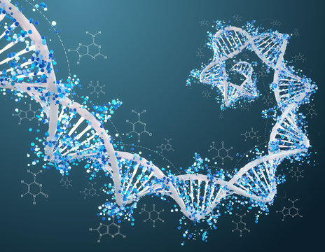 Digital 3D DNA helix with particles and molecules background - Innovation, modern medicine, technology and human genome concept