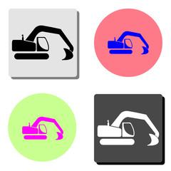 excavator. flat vector icon