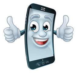 A mobile phone cell mascot cartoon character giving a thumbs up graphic illustration