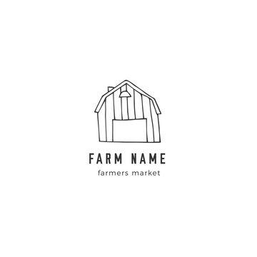Farm premade logo template. Vector hand drawn barn.