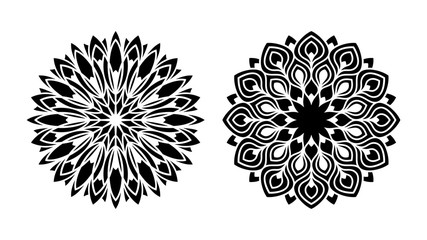 Tattoo mandala. Set of two vector flowers. Tribal floral patterns.
