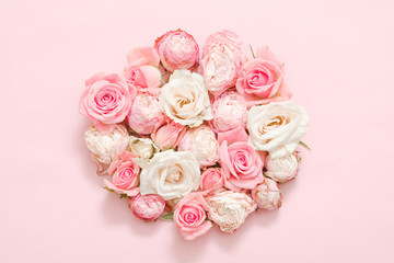Flower gift concept. Delicate roses on pink background.
