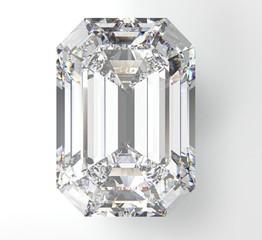 Transparent diamond brilliant octagon on white background. 3D render