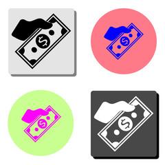 Money on Hand. flat vector icon