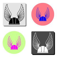 Winged racer helmet. flat vector icon