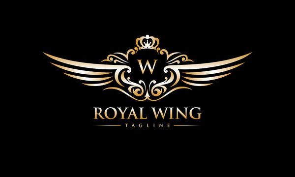 Elegant Royal Wing Logo Vector