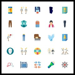 25 human icon. Vector illustration human set. the bridge and groom and trousers icons for human works