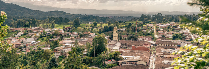 Aerial view of the town of Salento, Quindío, Colombia. Coffee production area.
