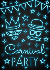 Colorful neon invitation for Carnival Party. Vector