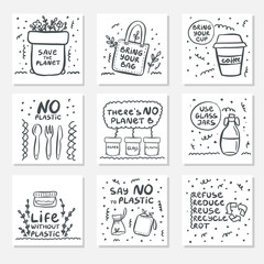 Set of hand drawn cards with zero waste life and lettering slogan