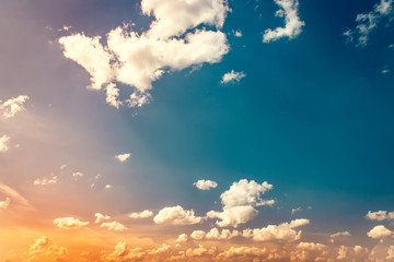 A new heaven concept: Dramatic sky with orange clouds dawn texture background. Summertime.