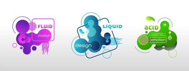 Set of liquid graphic elements, vector template