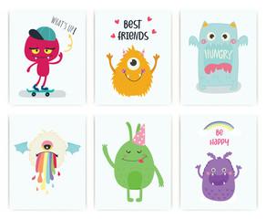 Set of cute monster. Kid. T-shirt, card. Vector.