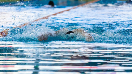 Swimmers compete in the sports pool