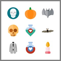 9 halloween icon. Vector illustration halloween set. potion and pumpkin icons for halloween works