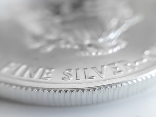 Macro Close up of a 999% Silver American Eagle Bullion Coin