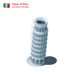 The Tower of Pisa before and after leaning isometric vector icon.