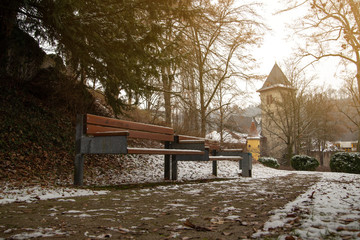 Empty park benches in winter