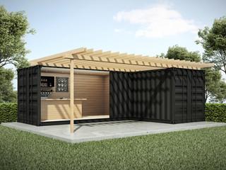 Exterior container bar in garden 3D render