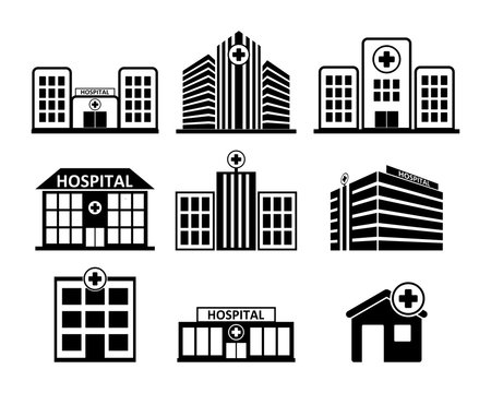Hospital building icon set in black on white background