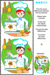 Picture puzzle: Find the seven differences between the two pictures of happy young chef. Answer included.