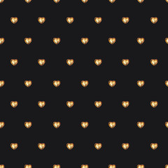 Seamless pattern with chocolate heart in gold foil on black background. Use for textile, wrapping paper, wallpaper, and other design. Drawing with colorful pencils.