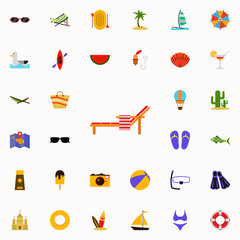 chaise-longue flat icon. colored Summer icons universal set for web and mobile