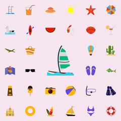 surfing with a sail flat icon. colored Summer icons universal set for web and mobile