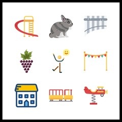 9 little icon. Vector illustration little set. rabbit and kid railway icons for little works