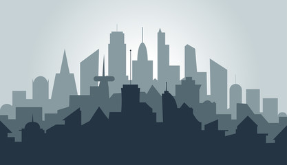 vector silhouette of a metropolis, urban landscape in flat style