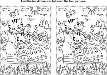 Find the ten differences picture puzzle and coloring page with two cute playful kittens and old shoe