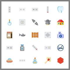 25 danger icon. Vector illustration danger set. no smoking and match icons for danger works