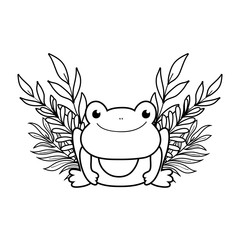 cute toad with leafs character
