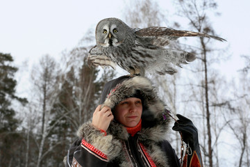 An owl is seen during a training session in Krasnoyarsk