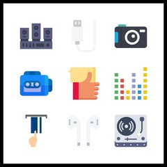 9 electronic icon. Vector illustration electronic set. usb and photo camera icons for electronic works