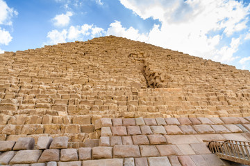 Closeup view on a great pyramid of Cheops in Giza plateau. Cairo, Egypt