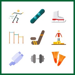 9 sports icon. Vector illustration sports set. horizontal bar and ice skate icons for sports works