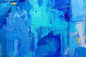 Abstract colorful oil painting on canvas. Oil paint texture with brush and palette knife strokes. Multi colored wallpaper. Macro close up acrylic background. Modern art concept. Horizontal fragment. Wall mural