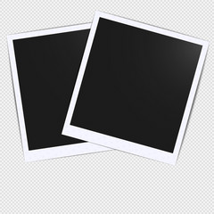 Old empty realistic photo card frame mockup design with transparent shadow on plaid black white background. Make it with gradient mesh tool. photo border to family album. Vector illustration EPS 10