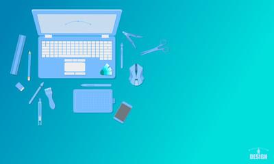 creative art design studio top view concept blue tone vector illustration eps10