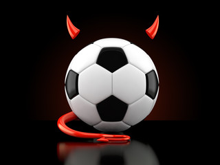 Soccer ball with devil horns and tail