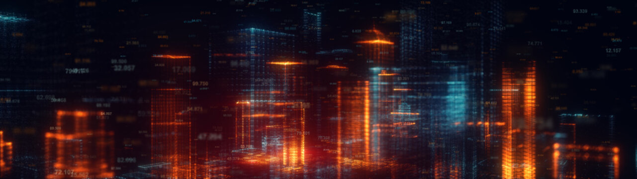 3d rendered wide abstract futuristic night city concept. Transparent business skyscrapers made of bright particles. Hologram buildings. Interface elements. Architectural digital technology structure