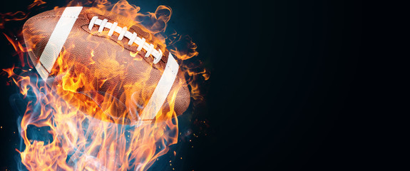 Creative design promo banners,sports subjects, american football ball, hot sale, discounts. Banner, copy space. Mockup, horizontal flyer for printing.