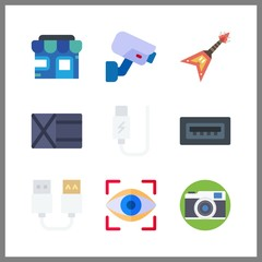 9 electronic icon. Vector illustration electronic set. usb and wallet icons for electronic works
