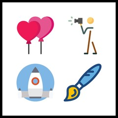 4 creative icon. Vector illustration creative set. paint brush and balloons icons for creative works