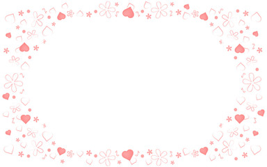 Pink Background with Hearts and Flowers Silhouette. Valentines day greeting card or wedding invitation background party design. Cartoon flat style vector illustration.