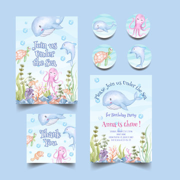 birthday party invitation with cute animal under the sea