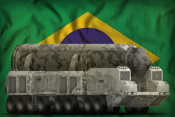intercontinental ballistic missile with city camouflage on the Brazil national flag background. 3d Illustration