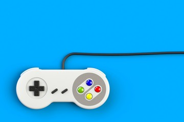 Video game console GamePad. Gaming concept. Top view retro joystick isolated on blue background, 3D rendering