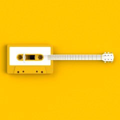Close up of vintage audio tape cassette with acoustic guitar concept illustration on yellow background, Top view with copy space, 3d rendering